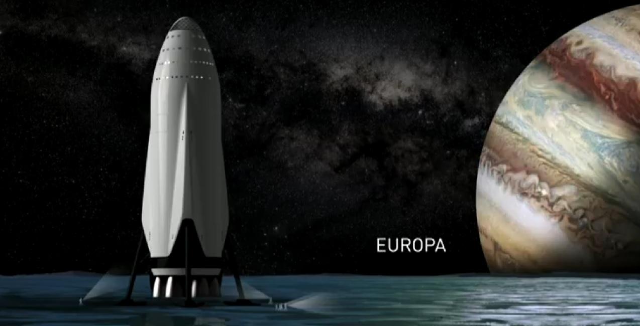 Il veicolo di trasporto atterrato su Europa. Credit: SpaceX