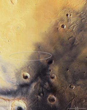 Il sito di atterraggio previsto per Schiaparelli, ripreso da Mars Express. Credits: ESA/DLR/FU Berlin (CC BY-SA 3.0 IGO)