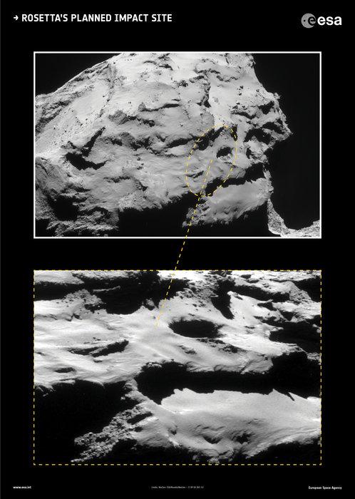 La zona prescelta per il landing di Rosetta. - ESA/Rosetta/NavCam – CC BY-SA IGO 3.0