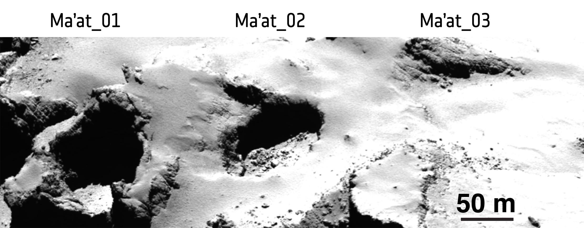Le cavità Ma'at viste durante uno dei sorvoli ravvicinati di Rosetta. - (C) ESA/Rosetta/MPS for OSIRIS Team MPS/UPD/LAM/IAA/SSO/INTA/UPM/DASP/IDA