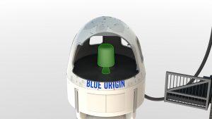 Posizione del motore di fuga all'interno della capsula del New Shepard (Credit: Blue Origin)