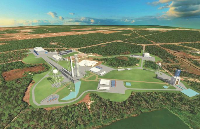 Rendering delle strutture che Blue Origin costruirà nell'area dei pad 36B e 11 (Credit: Blue Origin)