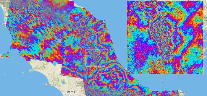 L'interferogramma che mostra gli spostamenti del suolo nell'area colpita dal terremoto dello scorso 24 Agosto in Italia Credits: ESA