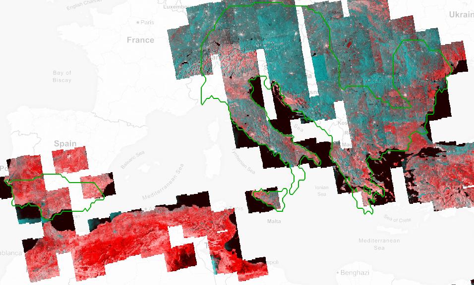 Una mappa delle aree sismiche Europee attualmente monitorate. Credits: ESA