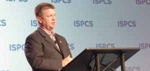 Mike Moses al ISPCS 2016. Credit: SpaceNews/Jeff Foust