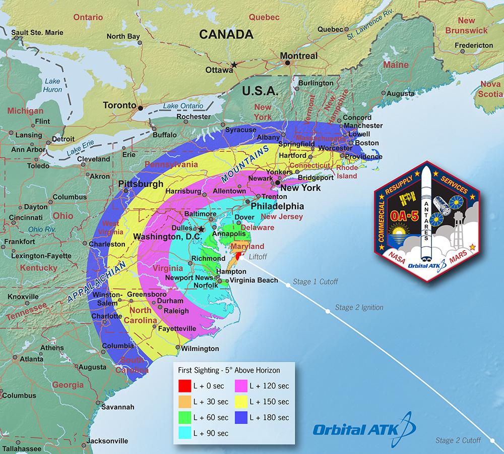 La traiettoria di lancio di Antares/Cygnus OA-5. Credits: Orbital ATK.