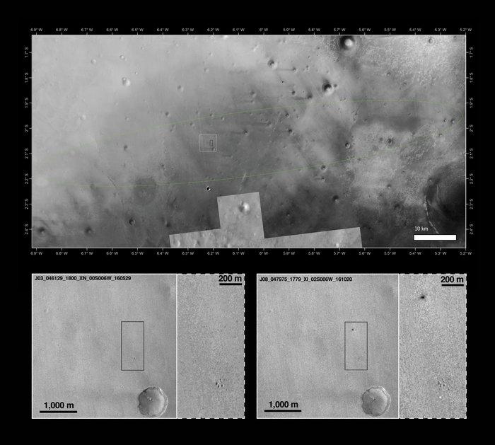 L'immagine del sito di impatto di Schiaparelli Credits: ESA