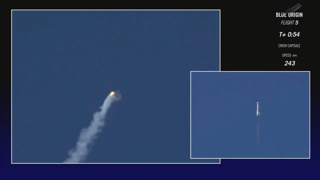 Poco prima dell'apertura dei paracadute la capsula compie una completa capriola (Credit: Blue Origin)