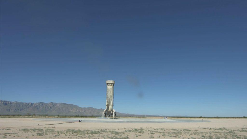 Il booster dopo il suo ultimo atterraggio nel deserto del Texas (Credit: New Shepard)