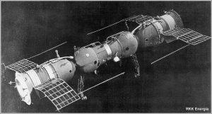 Due Soyuz 7K-OK agganciate. Credit RKK Energia.
