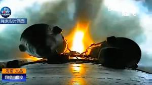 Due dei quattro boosters ripresi durante il lancio. Credit CCTV.