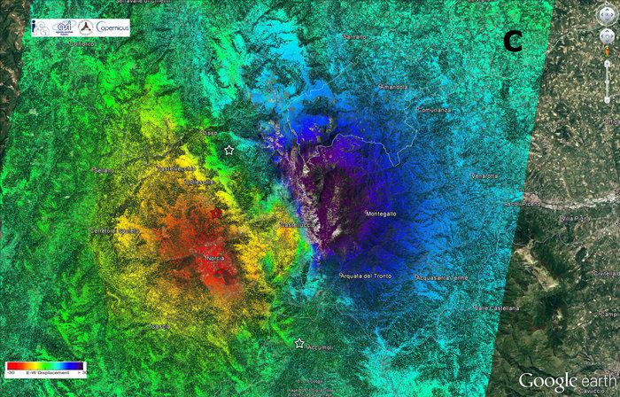 La mappa che evidenzia gli spostamenti orizzontali del terreno. Credits: ESA