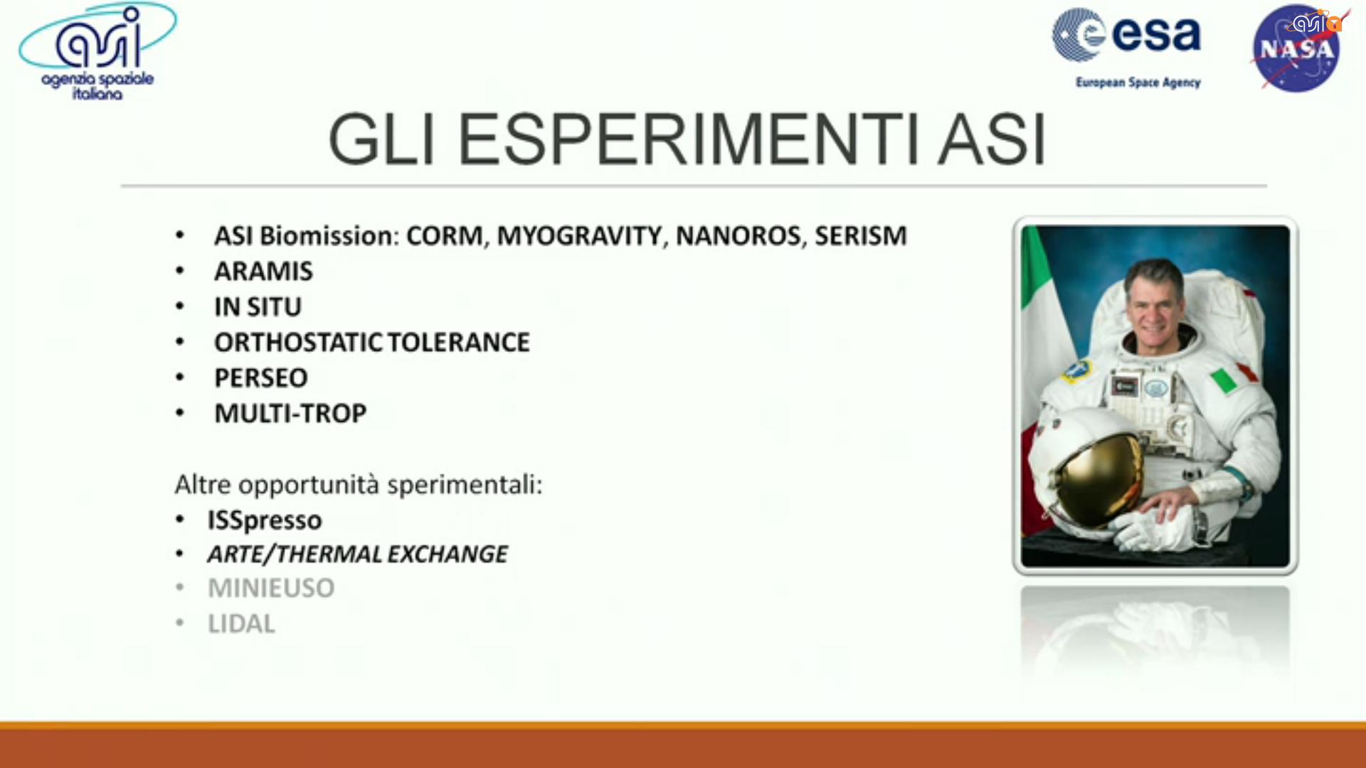 Gli esperimenti ASI della missione VITA.