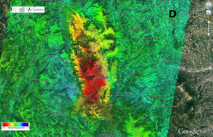 La mappa che evidenzia lo spostamento verticale del terreno. Credits: ESA