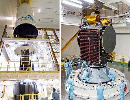 Integrazione dei satelliti Koreasat 7 e SGDC nel fairing dell'Ariane V - VA236. Fonte: Arianespace