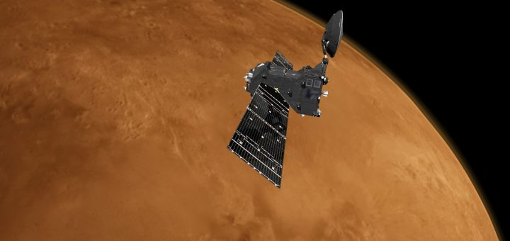 Rappresentazione artistica dell'orbiter TGO di ExoMars nei pressi di Marte. Credits: ESA