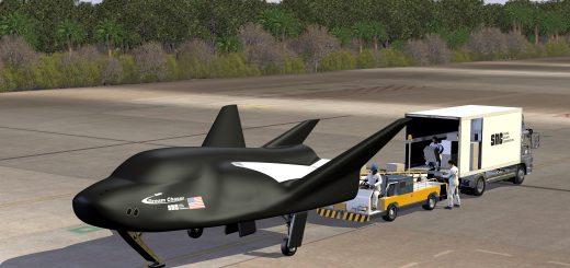 Un rendering raffigurante il Dream Chaser sulla pista di atterraggio. (C) SNC