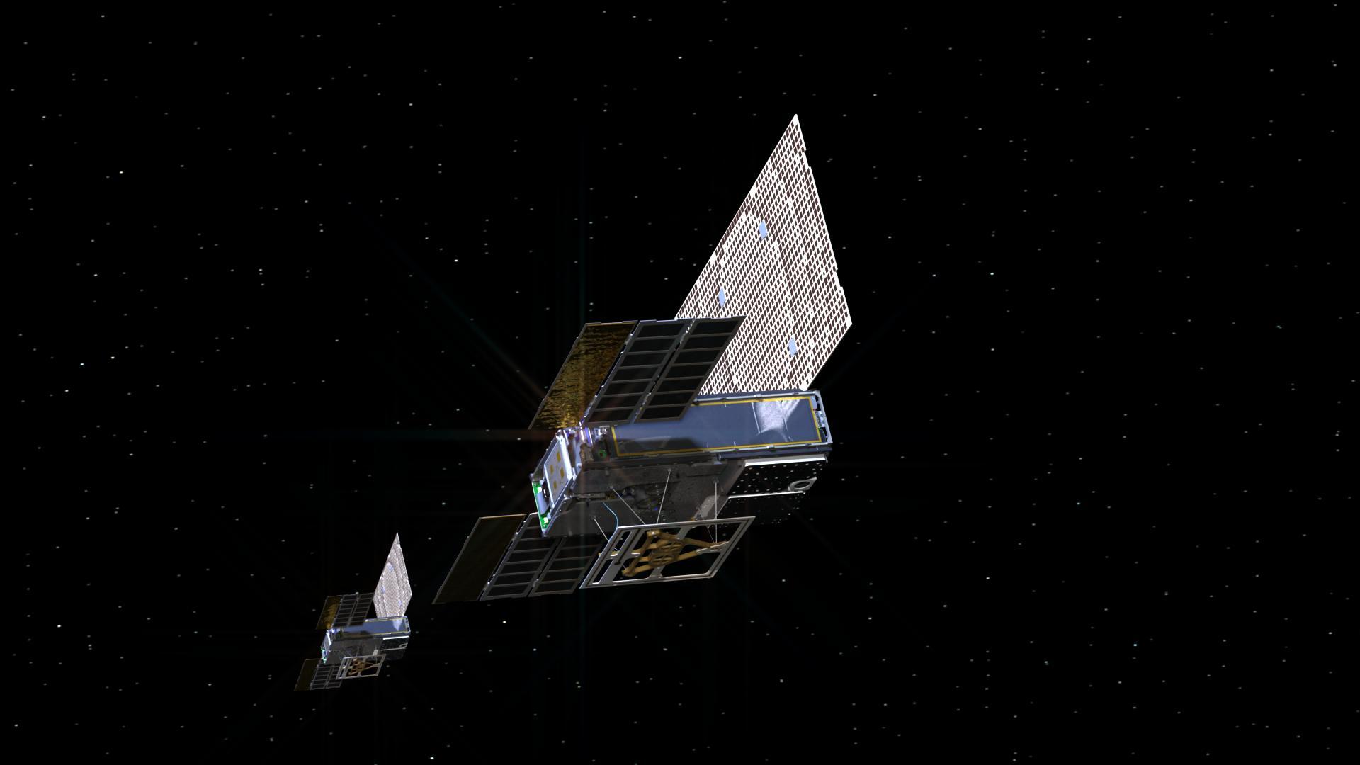 Una rappresentazione artistica dei due MarCO mentre viaggiano nello spazio. Credits: NASA / JPL / Caltech