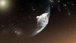 Rappresentazione artistica del momento di entrata nell'atmosfera marziana. Credits: NASA / JPL-Caltech