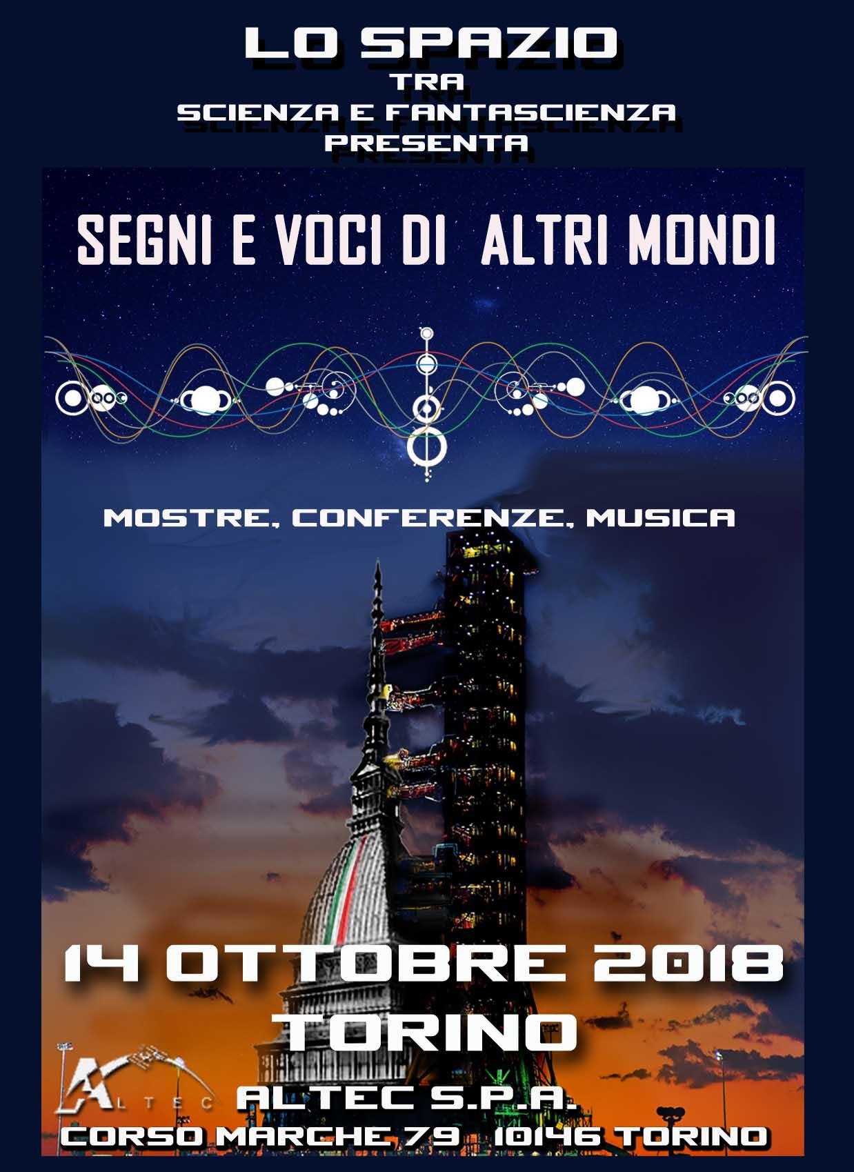 """Locandina dell'evento """"Segni e voci di altri mondi"""" 2018 in ALTEC"""