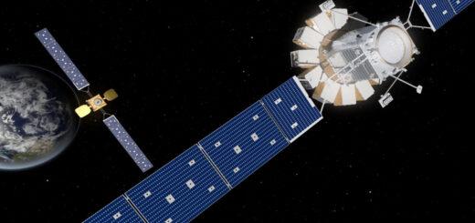 Una rappresentazione artistica di MRV e MEP in avvicinamento a un satellite per telecomunicazioni. Credits: Northrop Grumman