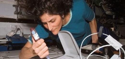 Sunita Williams mentre raccoglie campioni di materiale