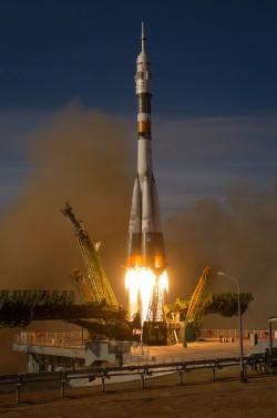 Il razzo Soyuz dell'Expedition 33/34 (Novitskiy,Ford,Tarelkin) al decollo lo scorso 23/10/2012. Credits: (NASA/Bill Ingalls)