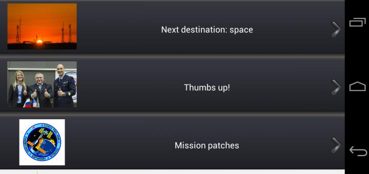 Una schermata dell'applicazione Missione Volare per Android. Fonte: app ASI, schermata acquisita da Paolo Amoroso