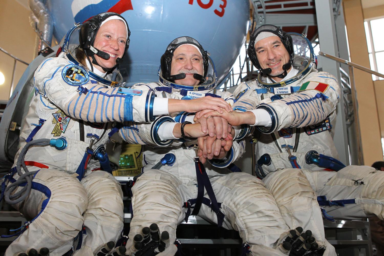 L'equipaggio della Soyuz TMA-09M: Karen Nyberg (NASA), Fyodor Yurchikhin (RKA) e Luca Parmitano (ESA). Fonte: NASA/Gagarin Cosmonaut Training Center