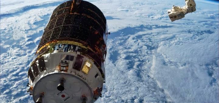HTV-4 visto da Cupola poco prima della cattura con il braccio robotico. Fonte: NASA