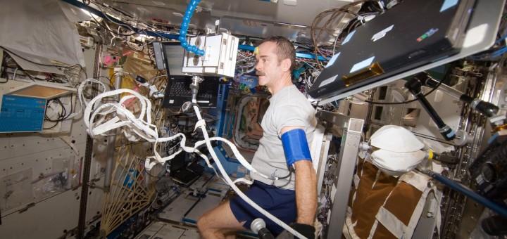 Chris Hadfield esegue una Periodic Fitness Assessment (PFE) sulla ISS. Fonte: NASA
