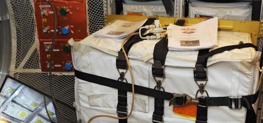 Un serbatoio d'acqua con pompa di trasferimento nel mockup di ATV all'EAC di Colonia. Fonte: Samantha Cristoforetti