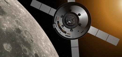 Immagine artistica di Orion in orbita con in evidenza i pannelli solari derivati da ATV. Credits: NASA
