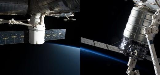 Dragon e Cygnus attraccate alla ISS. Credit: NASA.