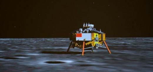 Una rappresnatzione artistica della sonda Cinese Chnag'e 3 appena giunta sul suolo Lunare. Credit: Xinhua/Li Xin.