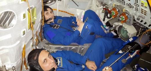 Samantha Cristoforetti e Anton Shkaplerov nel simulatore Soyuz a Star City. Fonte: Samantha Cristoforetti