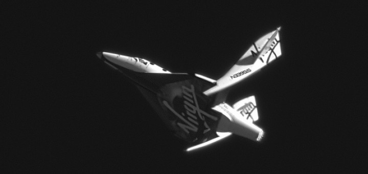 "SS2 in assetto ""feather"" nel test del 4 maggio 2011. Credit: Virgin Galactic."