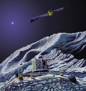Rappresentazione artistica di Rosetta in orbita intorno alla cometa e il lander Philae sulla superficie. (c) Astrium - E. Viktor