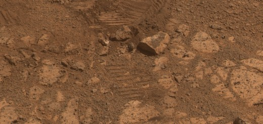 "This image from NASA's Mars Exploration Rover Opportunity shows where a rock called ""Pinnacle Island"" (lower left corner) had been before it appeared in front of the rover in early January 2014.  Image Credit: NASA/JPL-Caltech/Cornell Univ./Arizona State Univ."