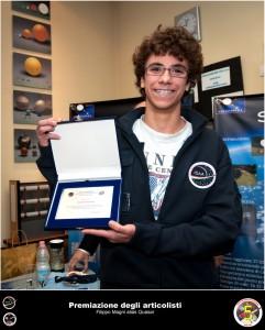 Filippo Magni premiato nel 2010 ad AstronautiCON 5 per la sua attività di articolista. Credit: Riccardo Rossi