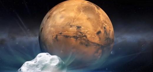 Immagine artistica dell'avvicinamento della cometa Siding Spring a Marte. Image Credit: NASA.