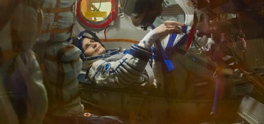 Samantha Cristoforetti nella Soyuz TMA-15M durante un test a Baikonur. Credit: GCTC
