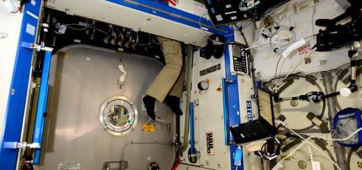 Samantha Cristoforetti accede a un connettore nel laboratorio Destiny. Credit: ESA/NASA