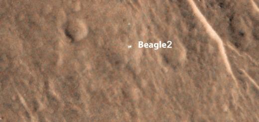 Beagle 2 sulla superficie di Marte. Credit: HIRISE/NASA/Leicester