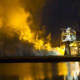 Suggestiva immagine di un test di funzionamento del motore RS-25. Credits: NASA