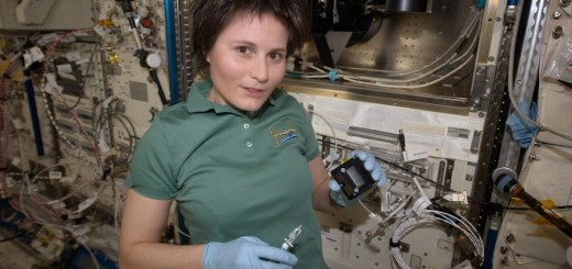 Samantha Cristoforetti lavora all'esperimento Aniso Tubule. Credit: ESA/NASA