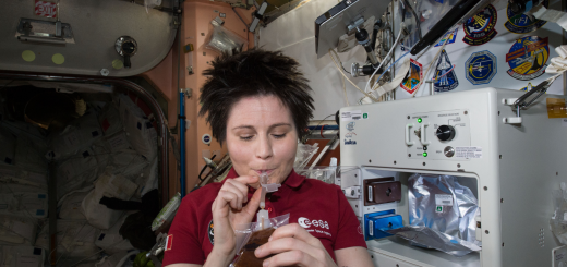 Samantha Cristoforetti drinks espresso on the International Space Station. Credit: Argotec