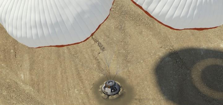 Un rendering dell'atterraggio di CST-100 sugli airbags (fonte: Boeing)