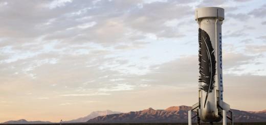 Il razzo di Blue Origin dopo l'atterraggio (C) Blue Origin