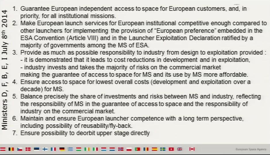 """Le caratteristiche dei futuri lanciatori europei """"Made in ESA"""" -"""